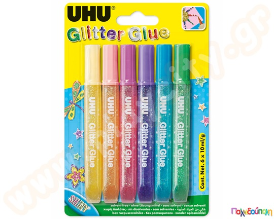 UHU Glitter Glue Shiny 6x10 ml